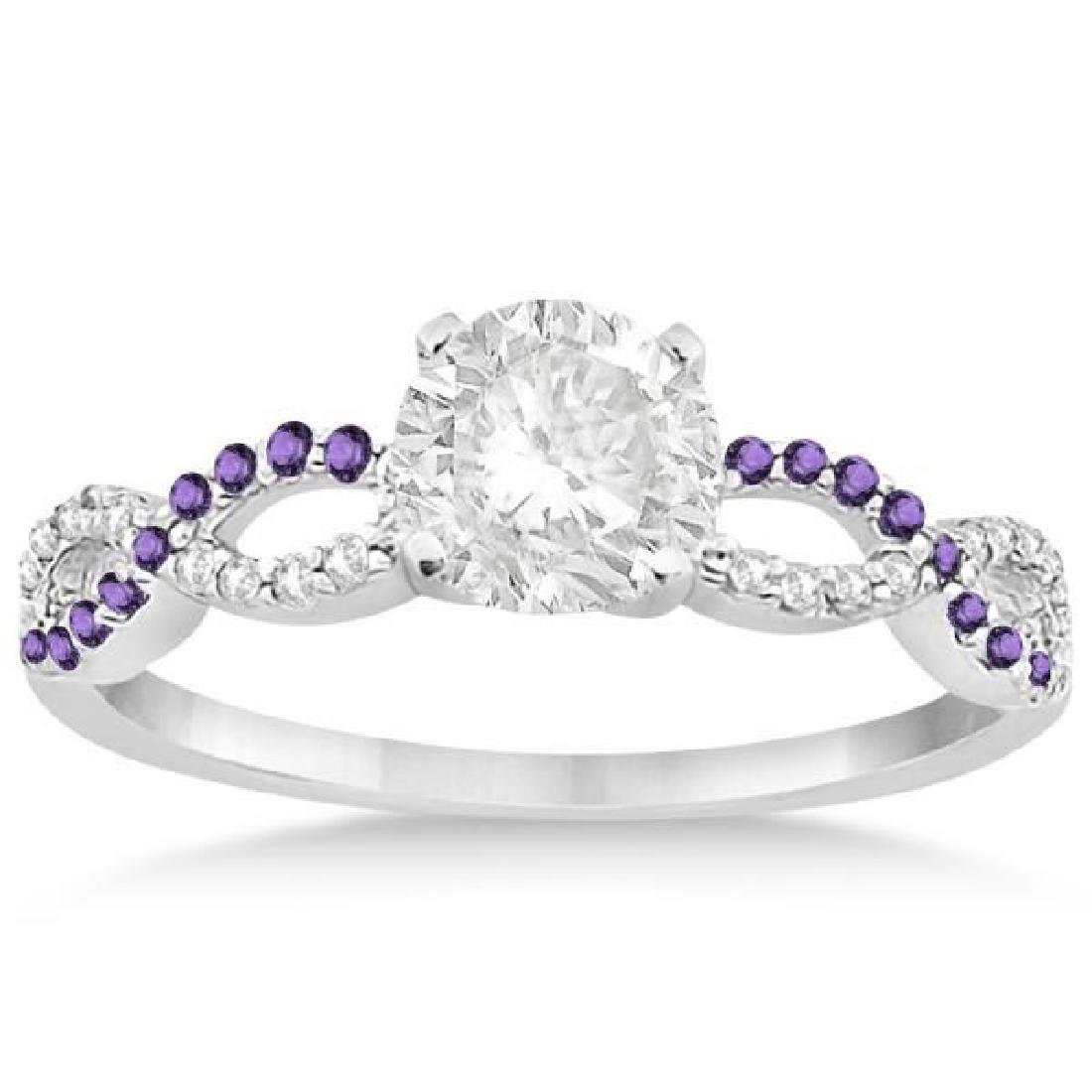 Infinity Diamond and Amethyst Engagement Ring in 14k Wh