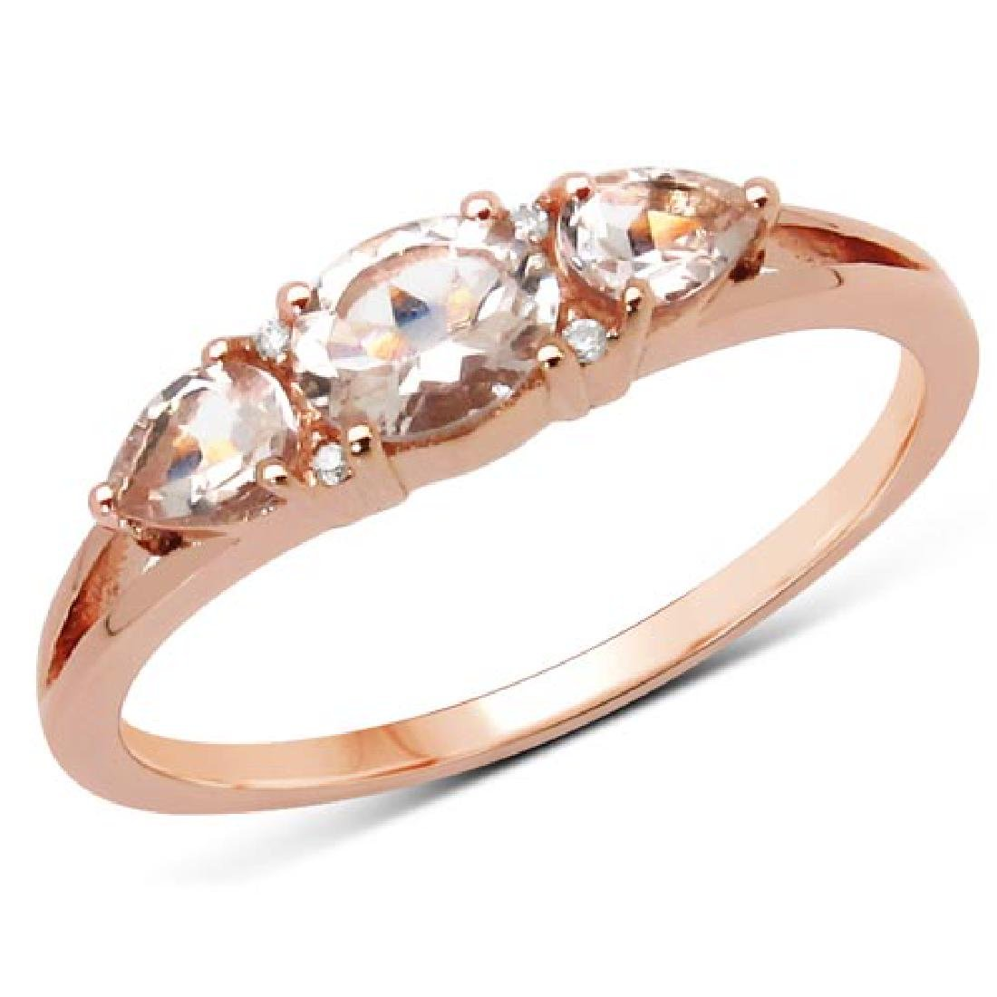 0.52 Carat Genuine Morganite and White Diamond 14K Rose