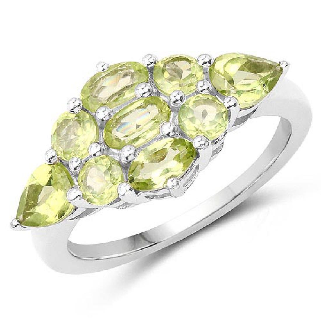 2.48 Carat Genuine Peridot .925 Sterling Silver Ring