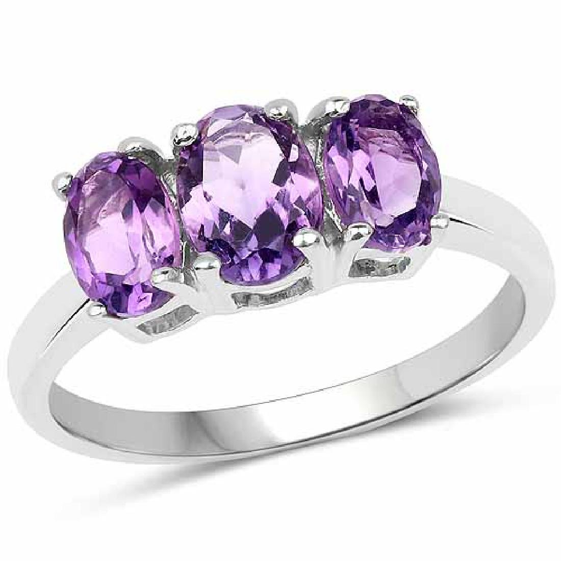 1.66 Carat Genuine Amethyst .925 Sterling Silver Ring