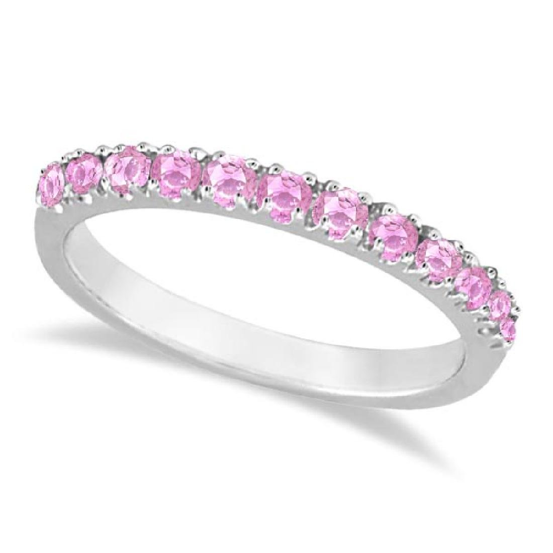 Pink Sapphire Stackable Band Ring Guard in 14k White Go