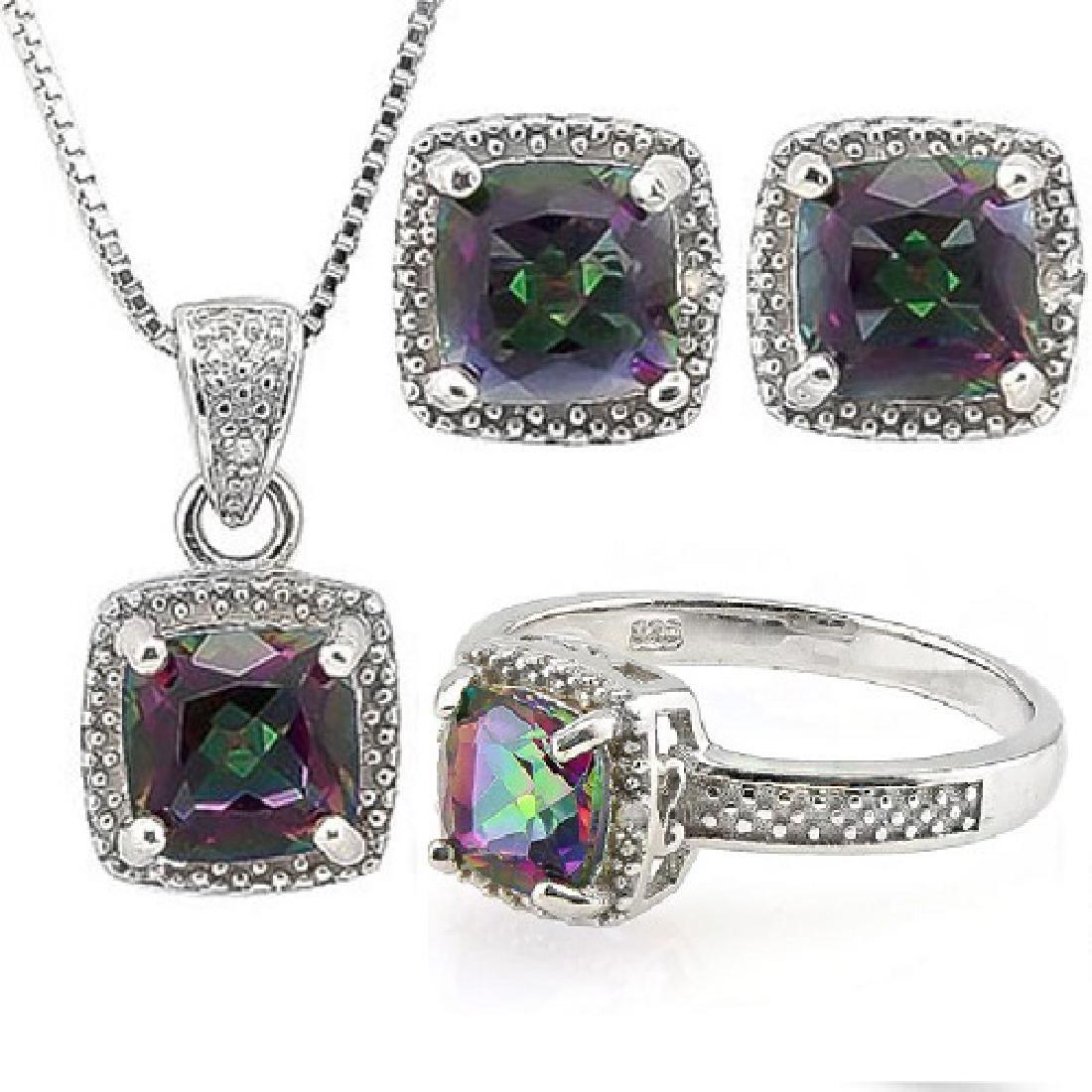 4 CARAT MYSTIC GEMSTONE & DIAMOND 925 STERLING SILVER S