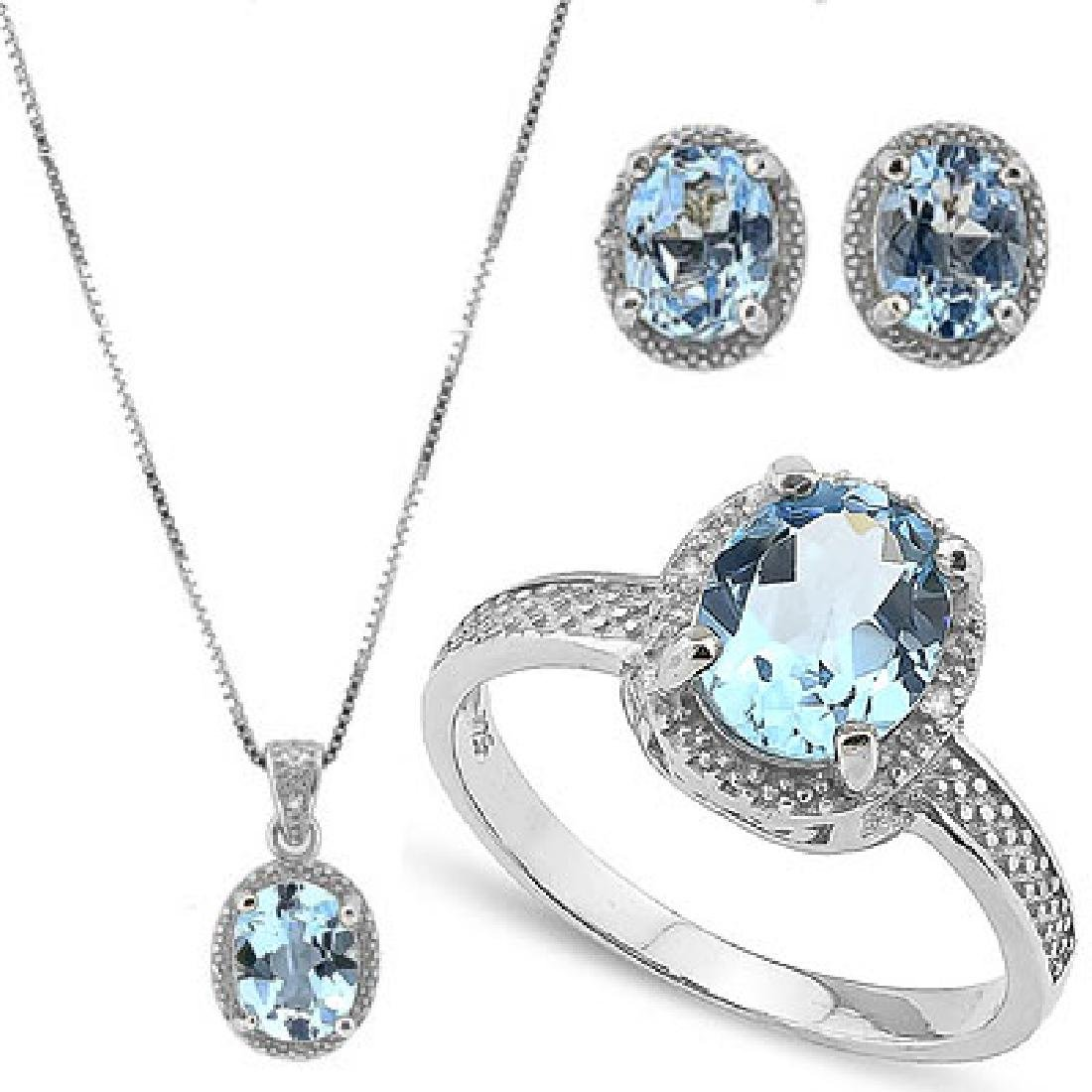 9 CARAT BABY SWISS BLUE TOPAZ & DIAMOND 925 STERLING SI