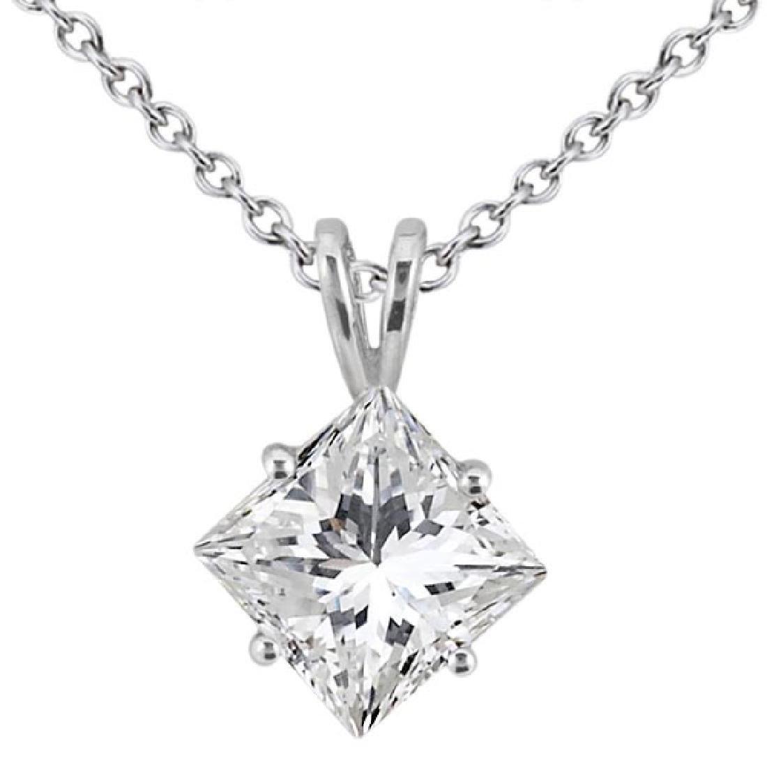 1.00ct. Princess-Cut Diamond Solitaire Pendant in 18k W