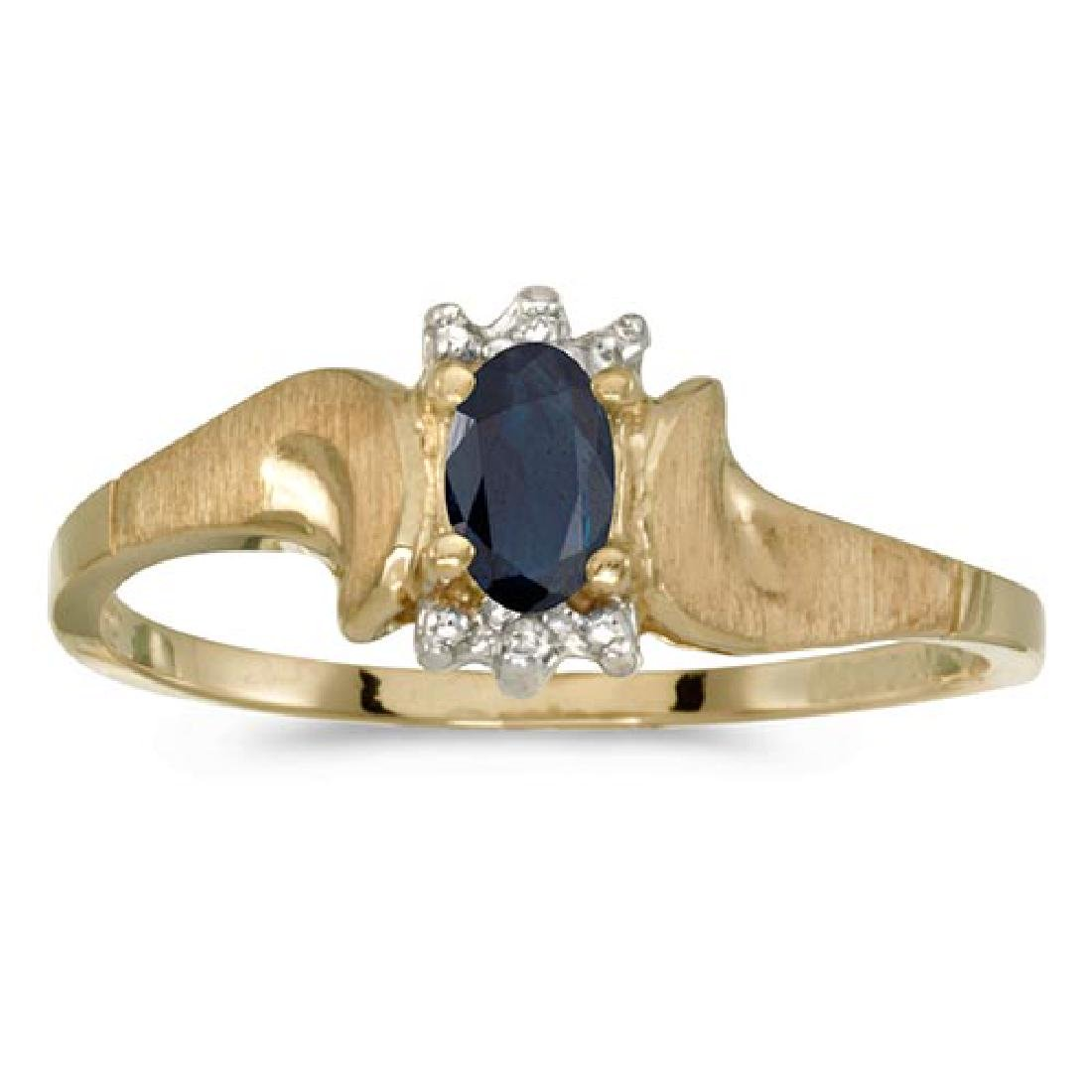 Certified 10k Yellow Gold Oval Sapphire And Diamond Sat