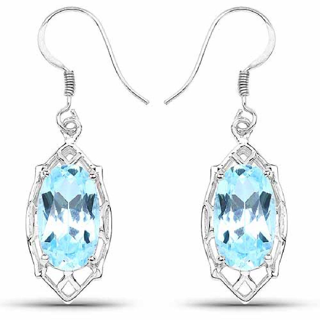 13.68 Carat Genuine Blue Topaz .925 Sterling Silver Ear