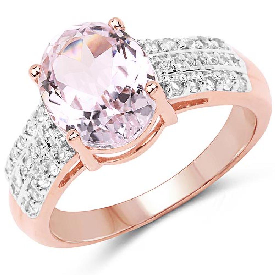 14K Rose Gold Plated 3.27 Carat Genuine Kunzite Oval an
