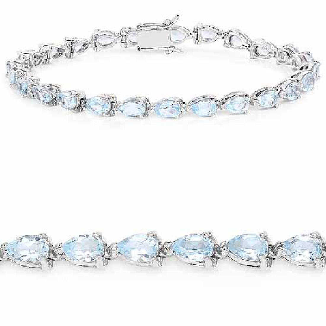13.20 Carat Genuine Blue Topaz .925 Sterling Silver Bra