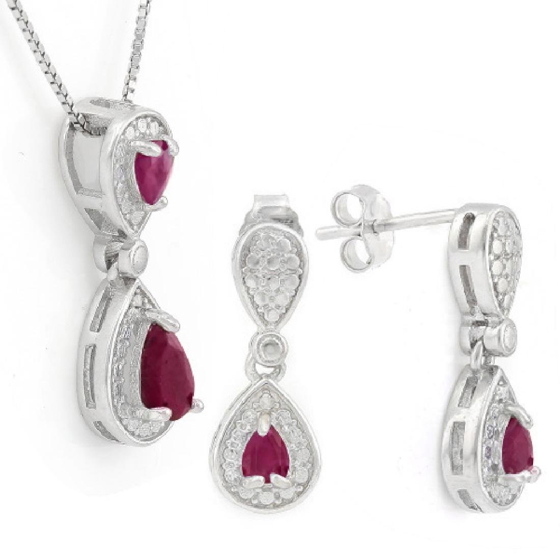 1 CARAT RUBY 925 STERLING SILVER SET ( No chain comes w