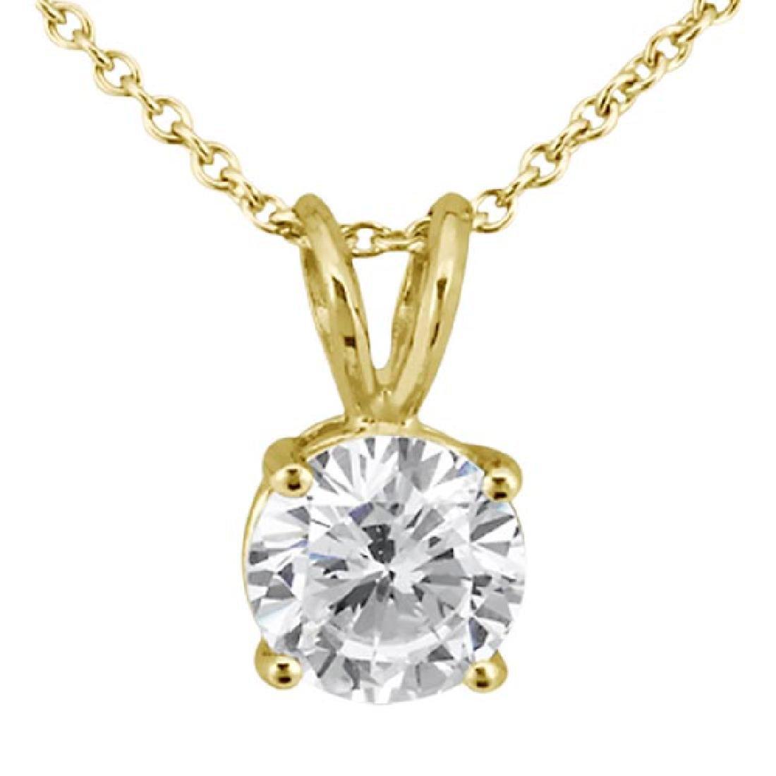 1.00ct. Round Diamond Solitaire Pendant in 18k Yellow G