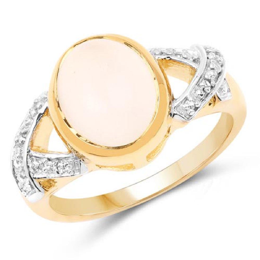 14K Yellow Gold Plated 3.06 Carat Genuine Moonstone and