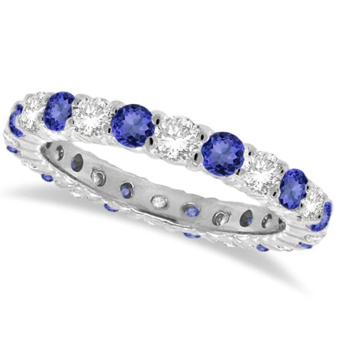 Tanzanite and Diamond Eternity Ring Band 14k White Gold