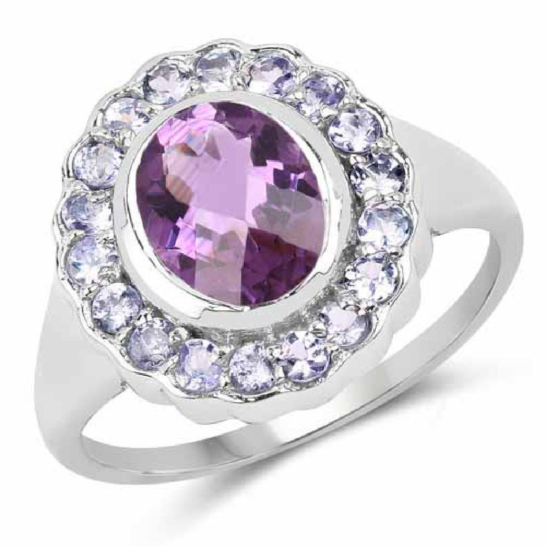 2.53 Carat Genuine Amethyst and Tanzanite .925 Sterling