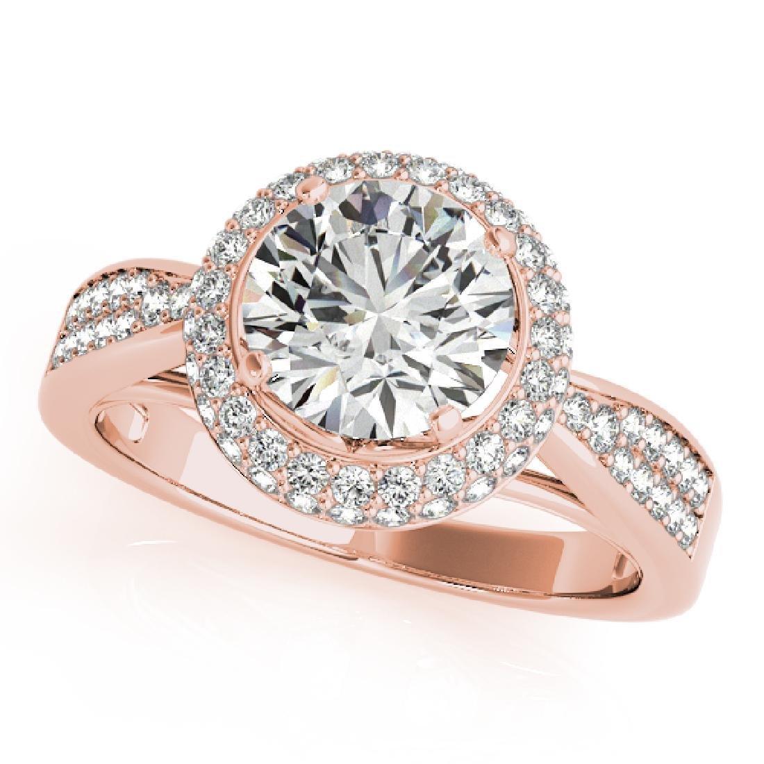 CERTIFIED 18K ROSE GOLD 0.86 CT G-H/VS-SI1 DIAMOND HALO