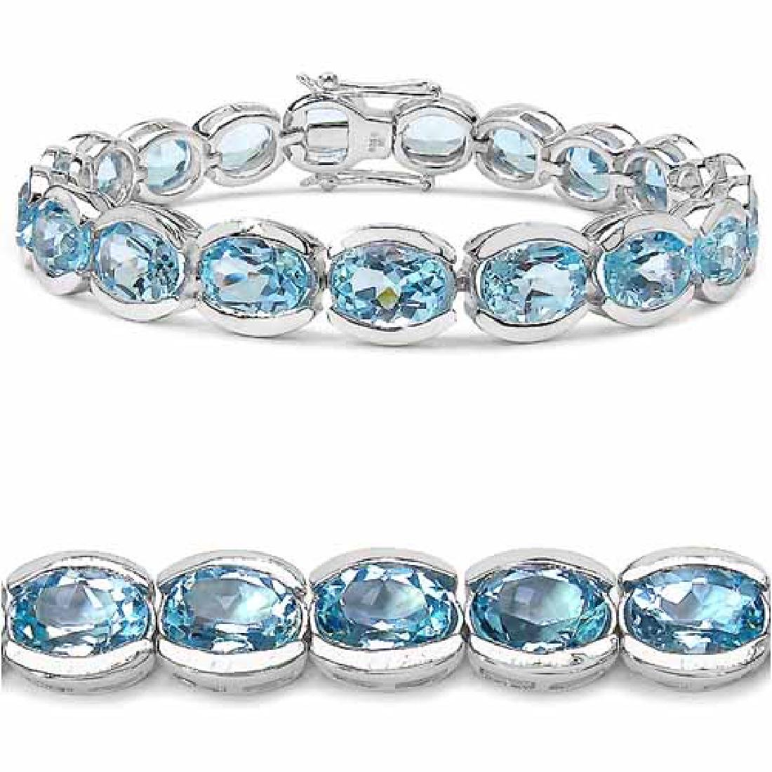 47.50 Carat Genuine Blue Topaz .925 Sterling Silver Bra