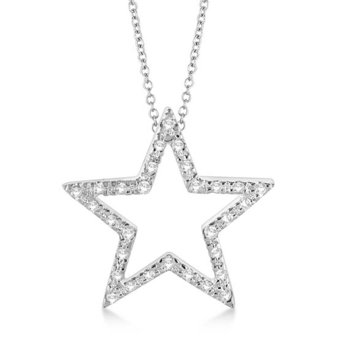 Star Shaped Diamond Pendant Necklace 14k White Gold (0.