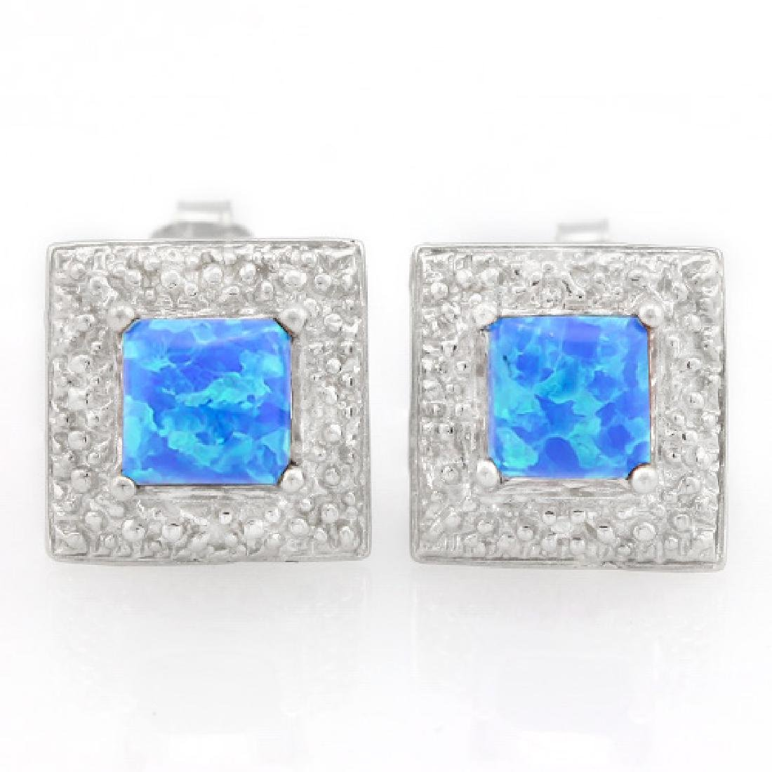 3/5 CARAT CREATED BLUE FIRE OPAL & DIAMOND 925 STERLING
