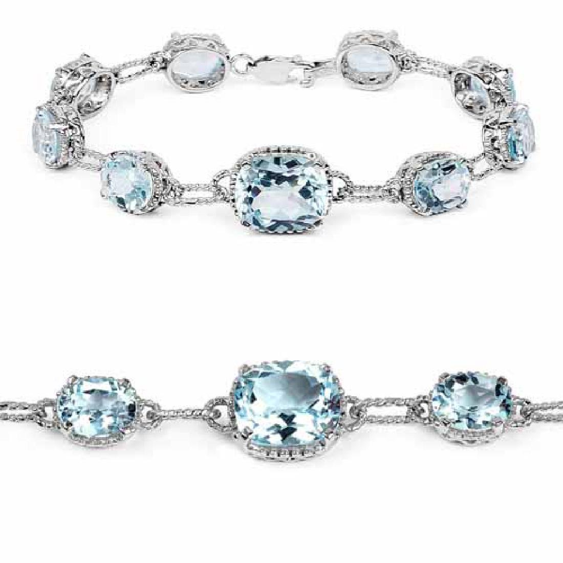 24.70 Carat Genuine Blue Topaz .925 Sterling Silver Bra