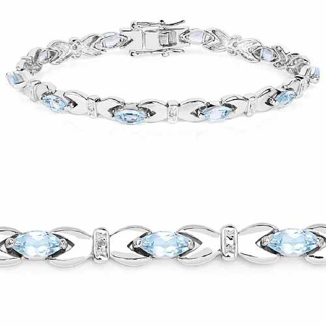 6.20 Carat Genuine Blue Topaz .925 Sterling Silver Brac