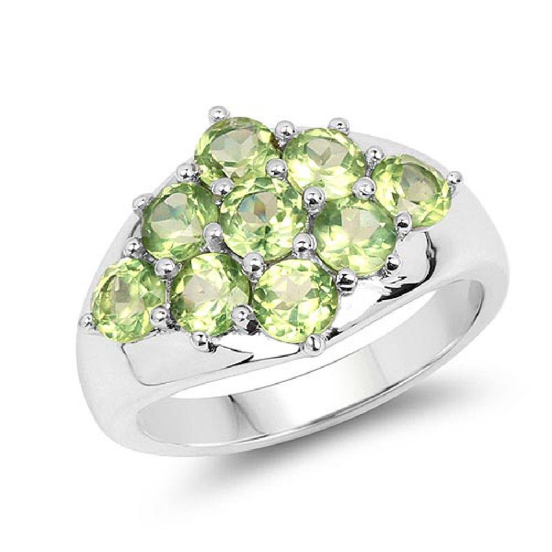 2.16 Carat Genuine Peridot .925 Sterling Silver Ring