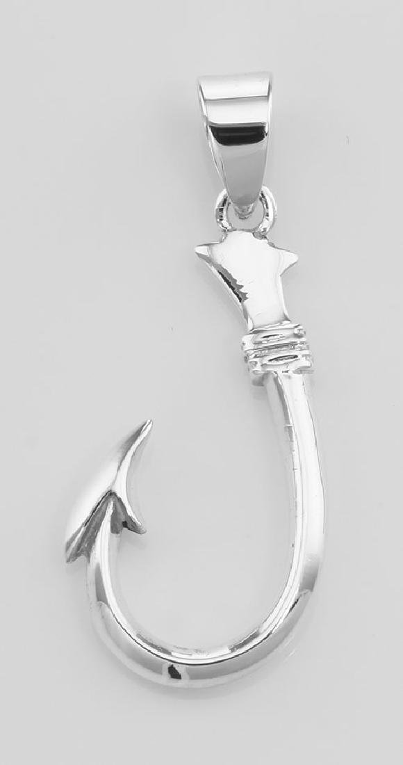 Classic Barbed Fish Hook Pendant - Sterling Silver