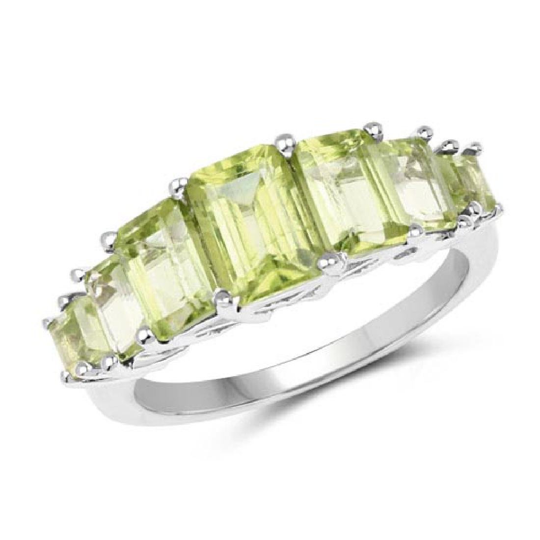 3.12 Carat Genuine Peridot .925 Sterling Silver Ring