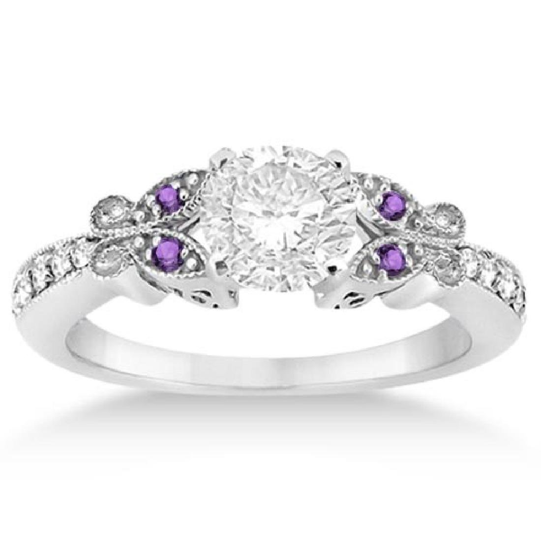 Butterfly Diamond and Amethyst Engagement Ring 18k Whit