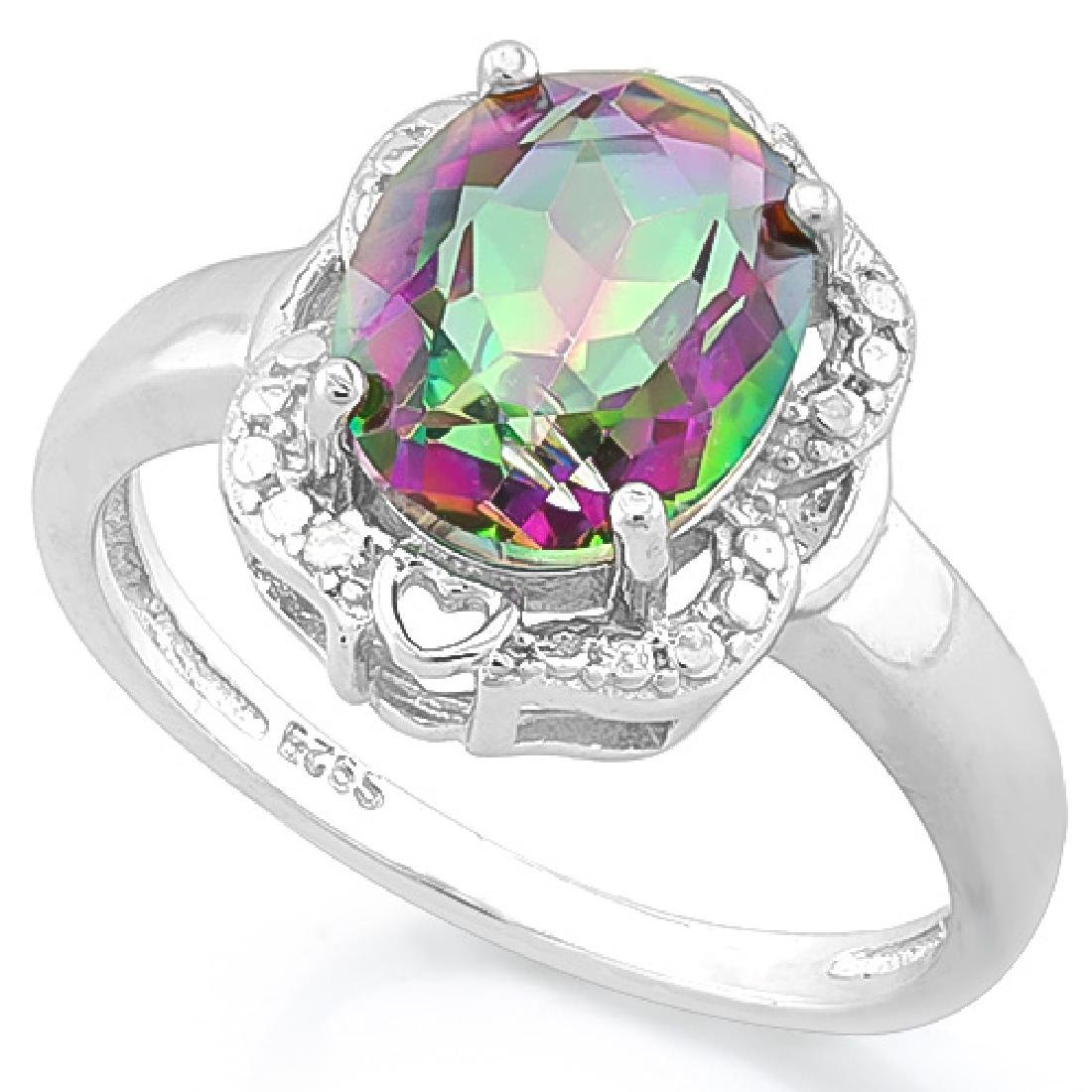 2 3/5 CARAT MYSTIC GEMSTONE & DIAMOND 925 STERLING SILV