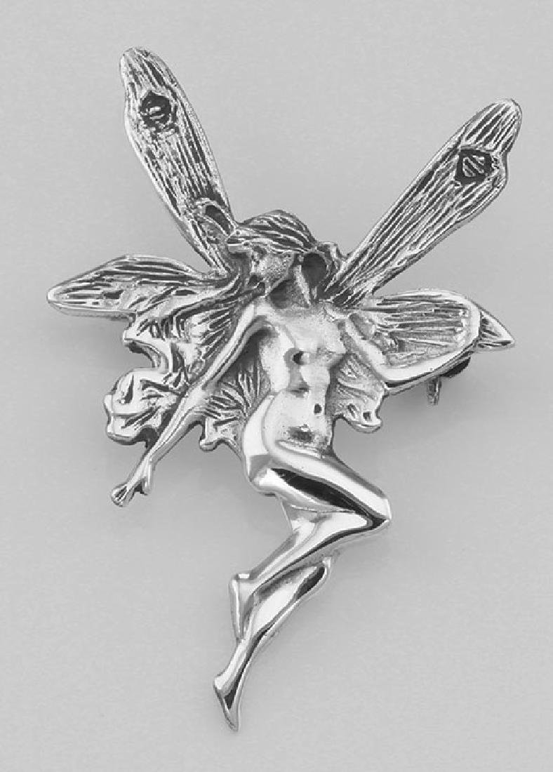 Small Art Nouveau Style Fairy Pin - Sterling Silver