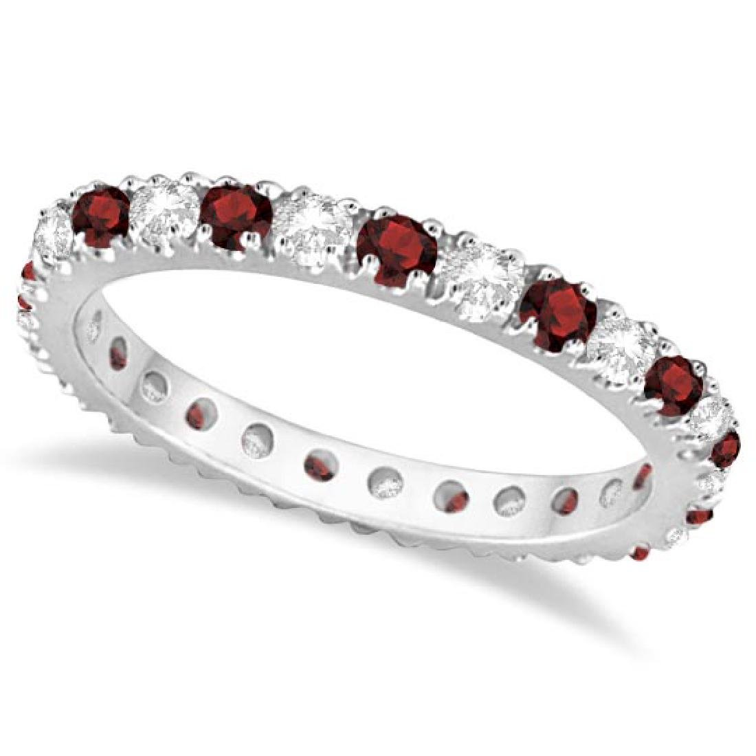 Diamond and Garnet Eternity Band Stackable Ring 14K Whi