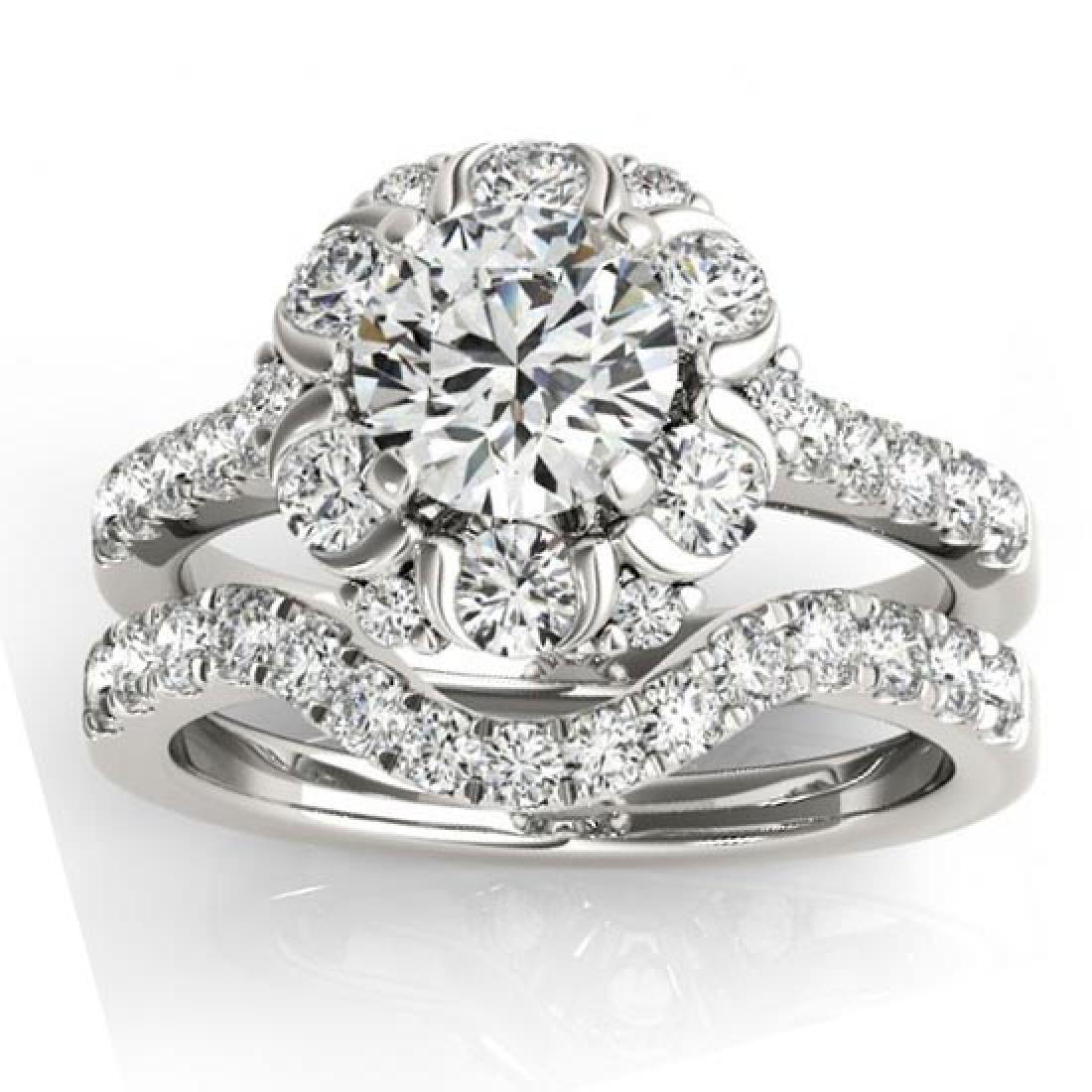 Flower Halo Diamond Bridal Set 14k White Gold 1.91ct