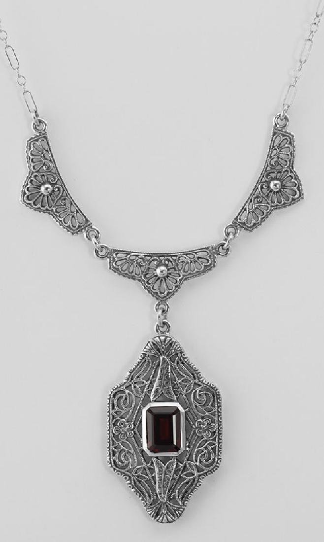 Classic Victorian Style Garnet Filigree Necklace w/ 19