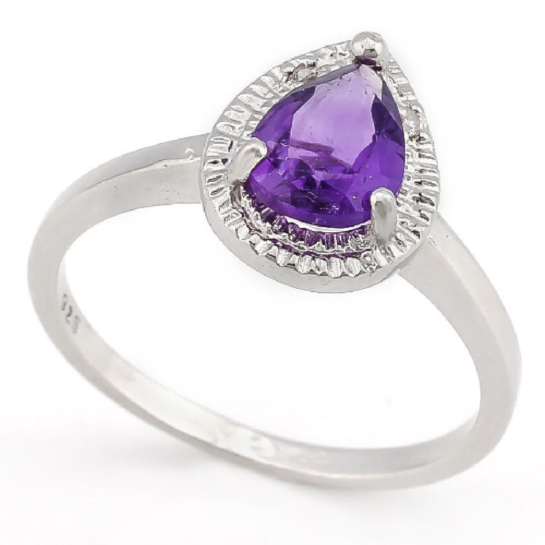 1 1/3 CARAT AMETHYST & DIAMOND 925 STERLING SILVER RING