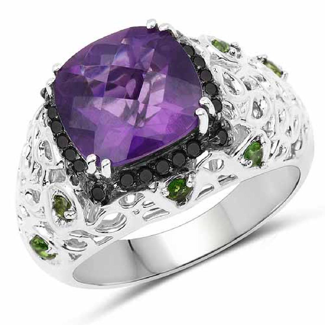 3.73 Carat Genuine Amethyst Chrome Diopside and Black