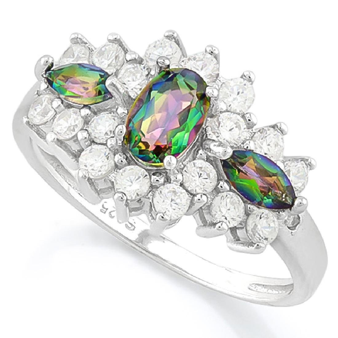 GREEN MYSTIC GEMSTONE 925 STERLING SILVER RING