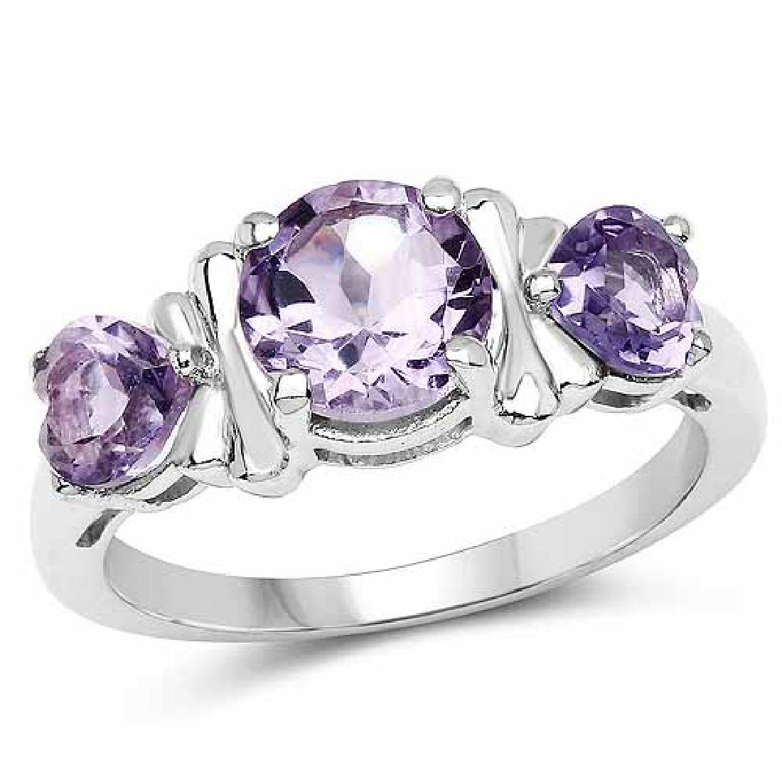 2.05 Carat Genuine Amethyst .925 Sterling Silver Ring