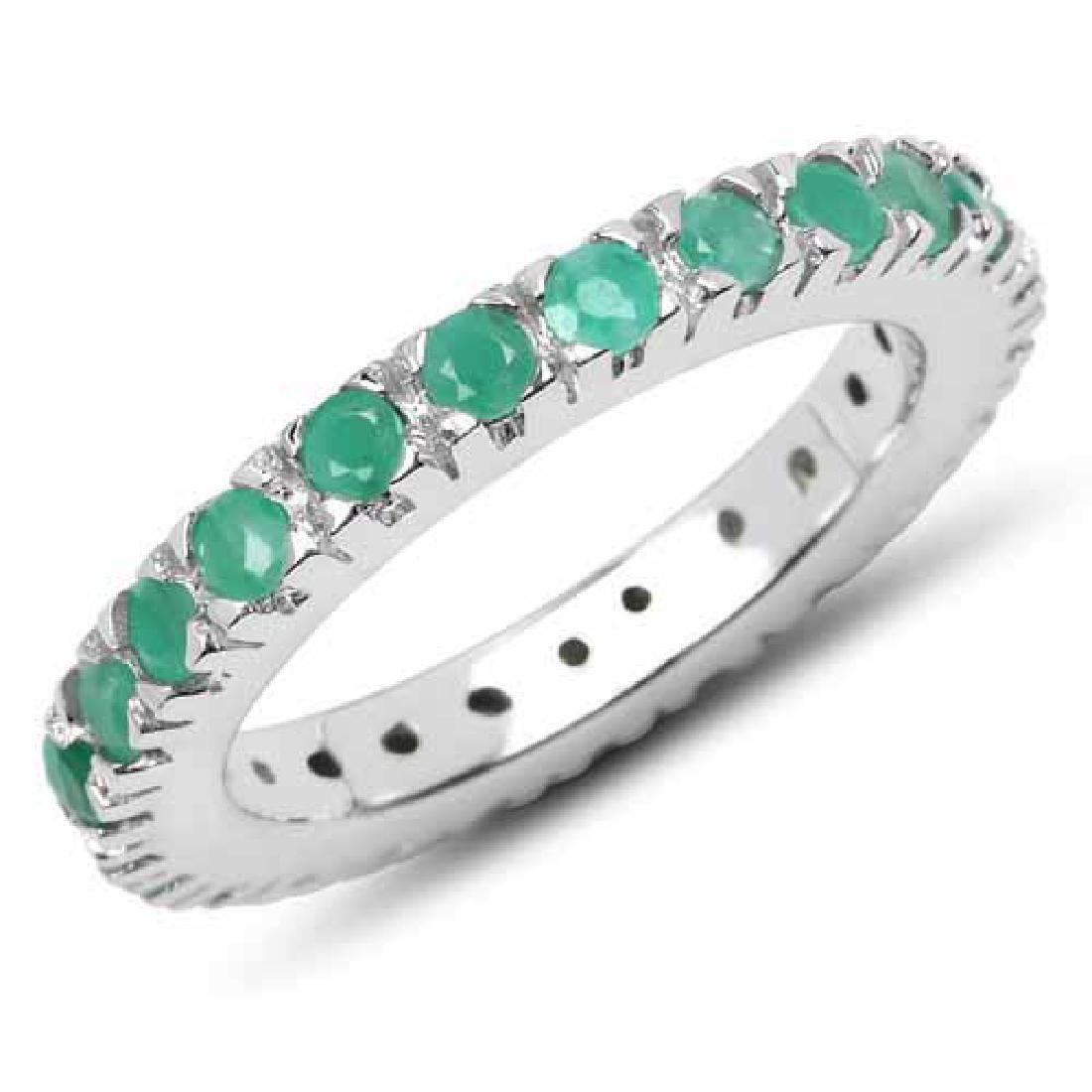 1.27 Carat Genuine Emerald .925 Sterling Silver Ring