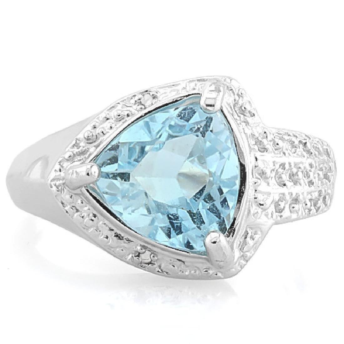 2 4/5 CARAT BABY SWISS BLUE TOPAZ & DIAMOND 925 STERLIN