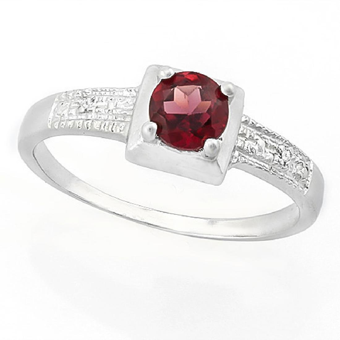 3/5 CARAT GARNET & DIAMOND 925 STERLING SILVER RING