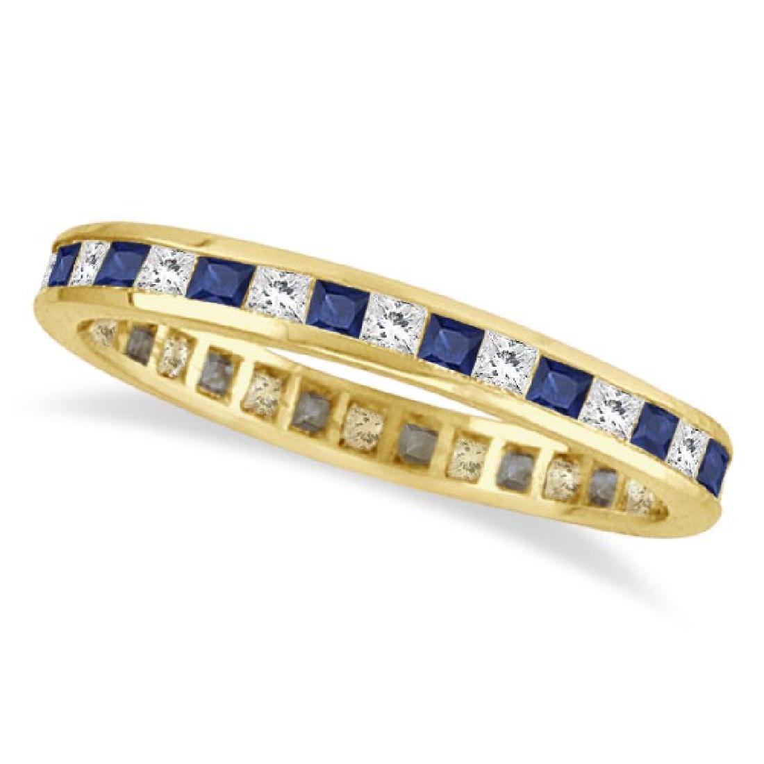Princess-Cut Sapphire and Diamond Eternity Ring 14k Yel