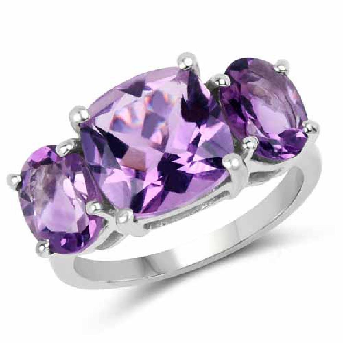 5.95 Carat Genuine Amethyst .925 Sterling Silver Ring