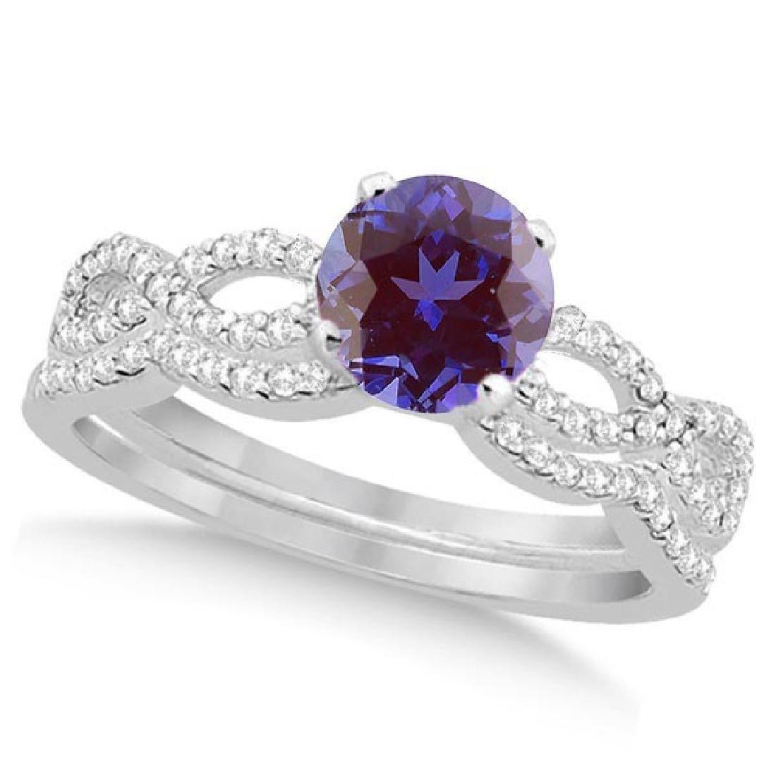 Infinity Style Alexandrite and Diamond Bridal Set 14k W