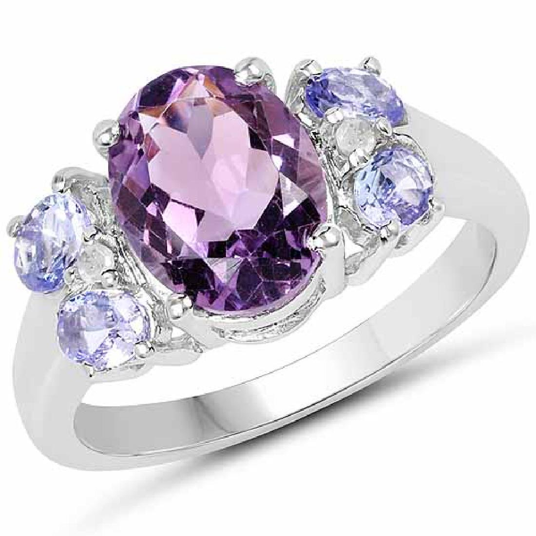 2.86 Carat Genuine Amethyst and Tanzanite .925 Sterling