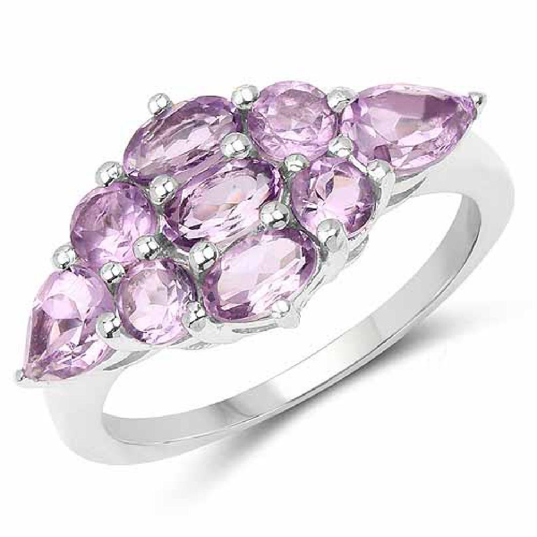 2.13 Carat Genuine Amethyst .925 Sterling Silver Ring