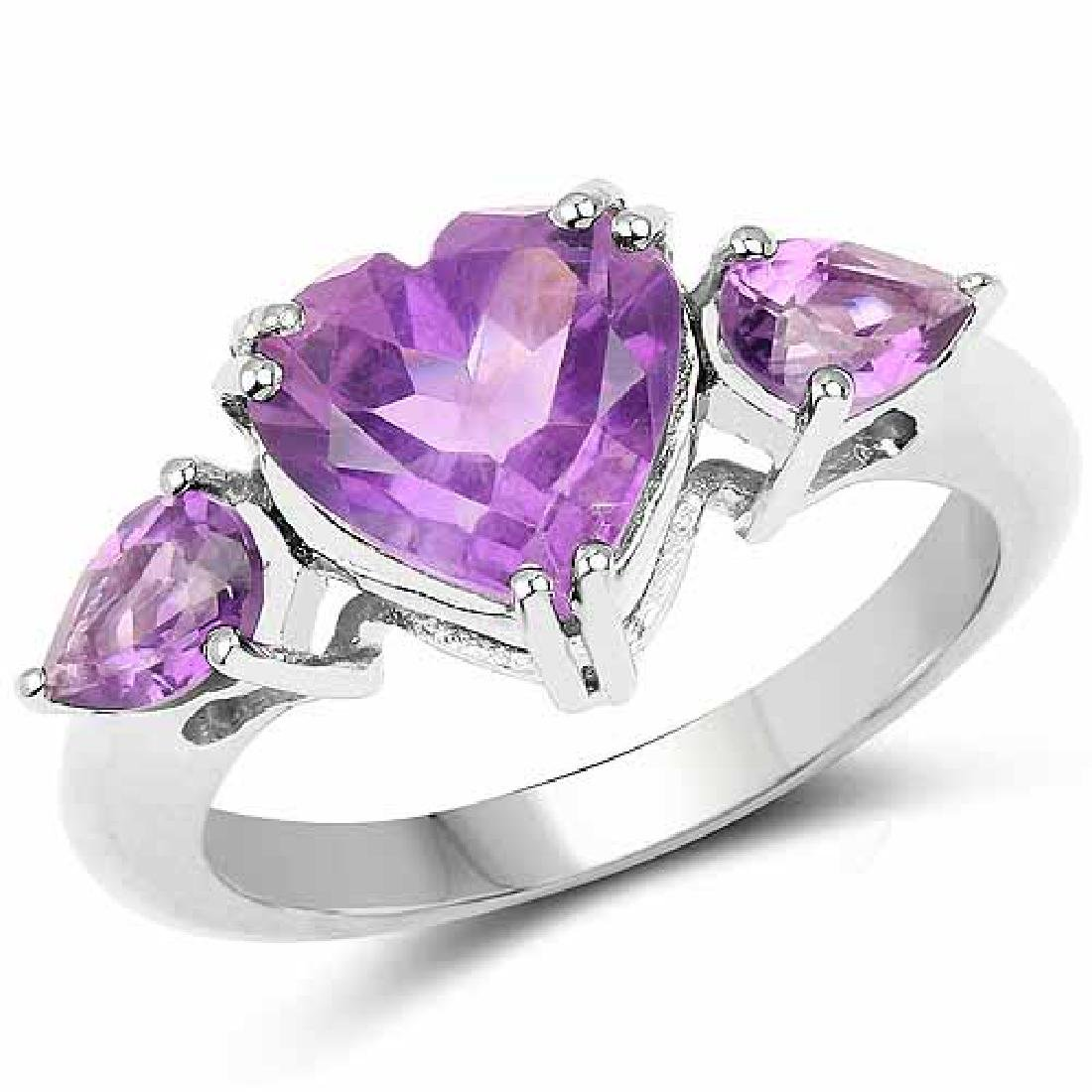 2.74 Carat Genuine Amethyst .925 Sterling Silver Ring