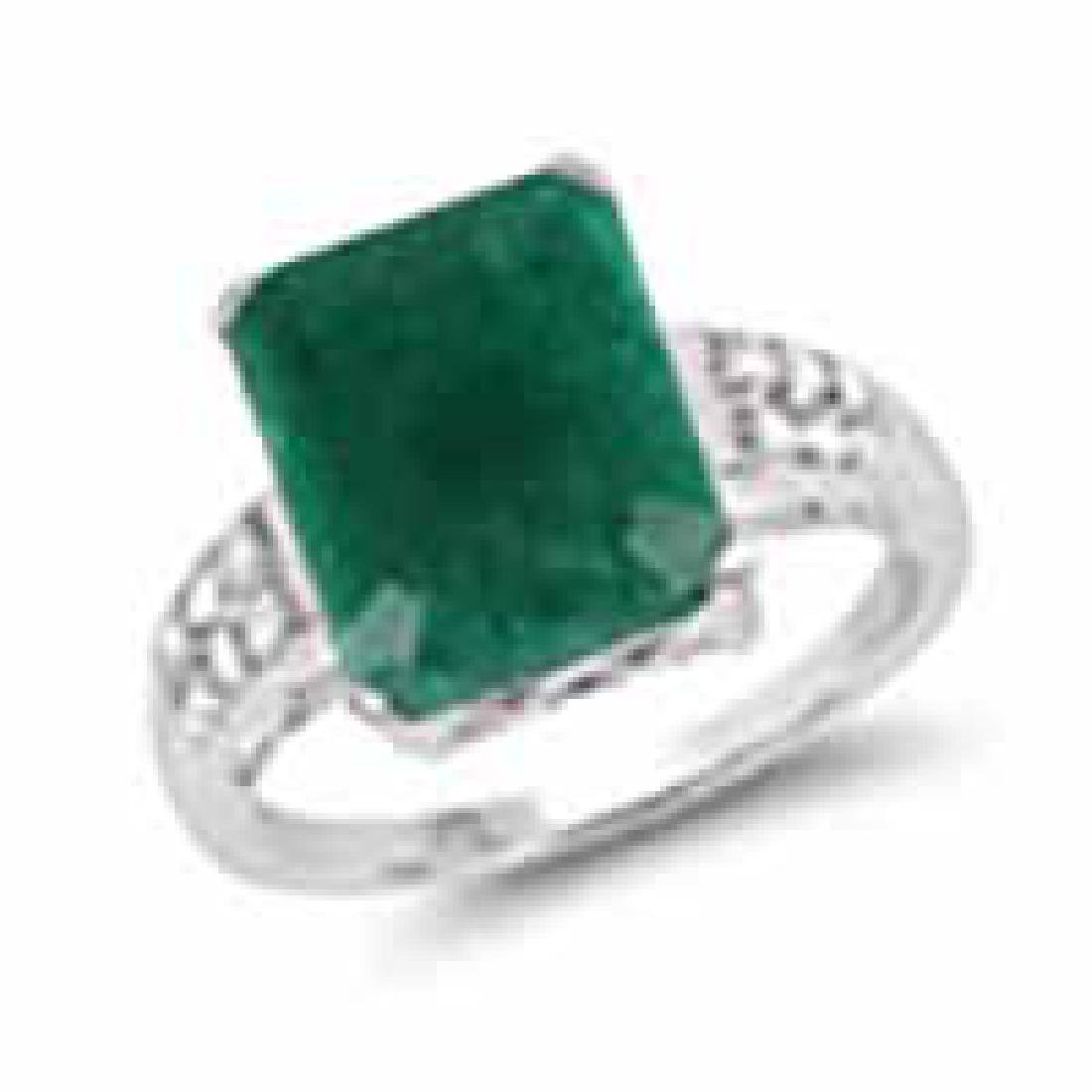 6.54 Carat Dyed Emerald and White Topaz .925 Sterling S
