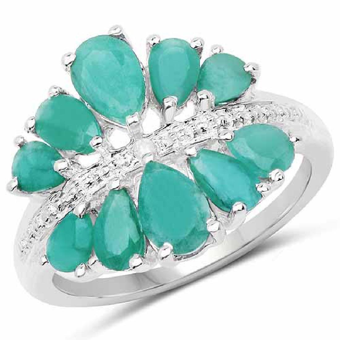 2.21 Carat Genuine Emerald and White Diamond .925 Sterl