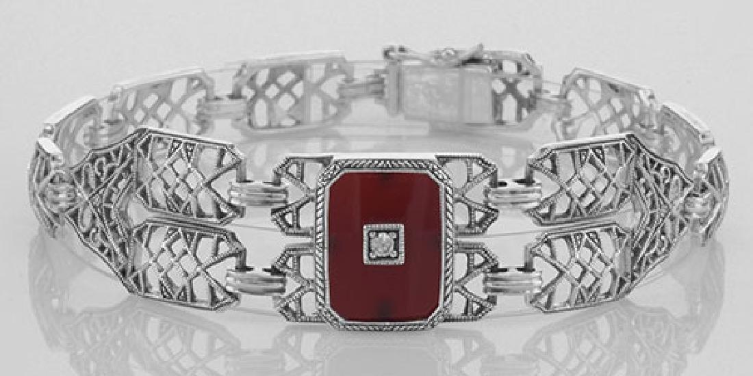 Victorian Style Red Carnelian Link Bracelet - Sterling