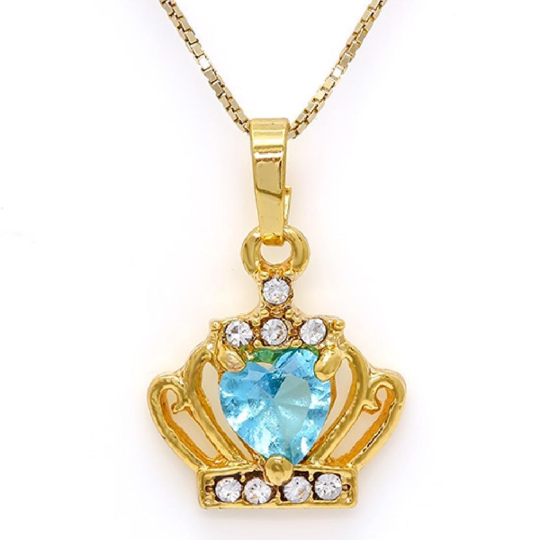 CREATED SWISS BLUE TOPAZ & FLAWLESS CREATED DIAMOND 18K