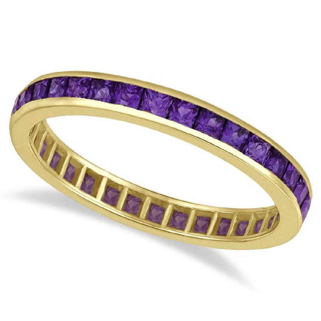 Princess-Cut Amethyst Eternity Ring Band 14k Yellow Gol